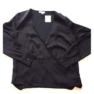 Leith Black Faux Wrap Shirt NWT